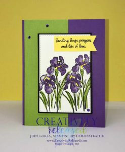 Colorful card with focal point being purple irises