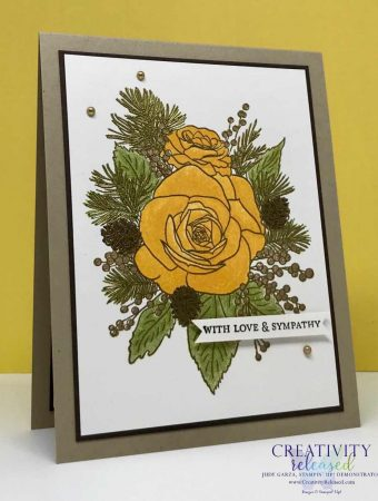 Yellow Rose arrangement with the sentiment of Love and Sympathy on the card front.