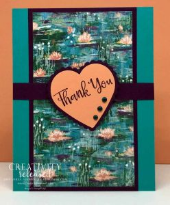 A Thank You card using Bermuda Bay, Blackberry Bliss and Grapefruit Grove cardstock and designer series paper