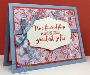Card front using Woven Threads DSP and the To A Wild Rose stamp set by Stampin' Up!