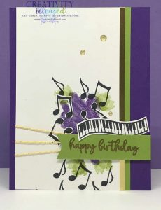 A birthday card using Gorgeous Grape, Granny Apple Green and Gold Foil with a keyboard and musical notes.