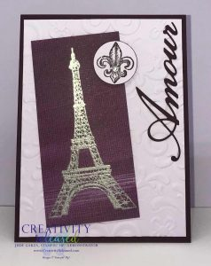 A greeting card in two shades of purple showing and sharing love by showing the Eiffel Tower in Silver and Amore as an accent.