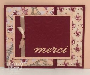 a joy-fold card using Parisian DSP and the 'merci' die-cut