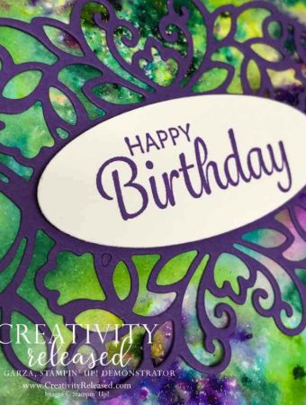 Up close look at the Happy Birthday sentiment on a Pigment Sprinkle background