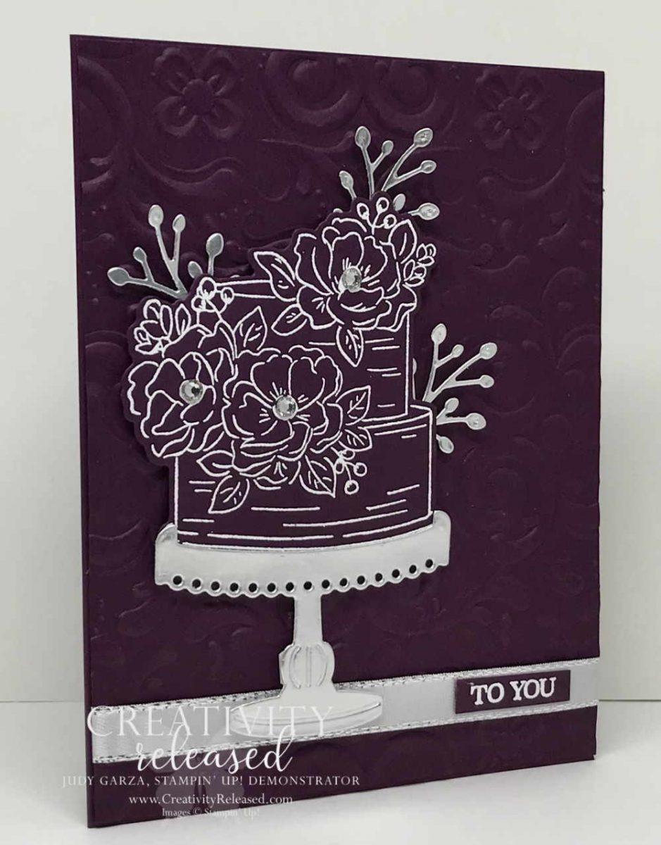 White embossed birthday cake on Blackberry Bliss Cardstock.