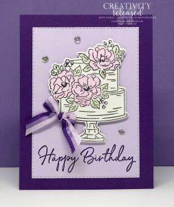 Birthday Cake card using Gorgeous Grape and Purple Posy cardstock