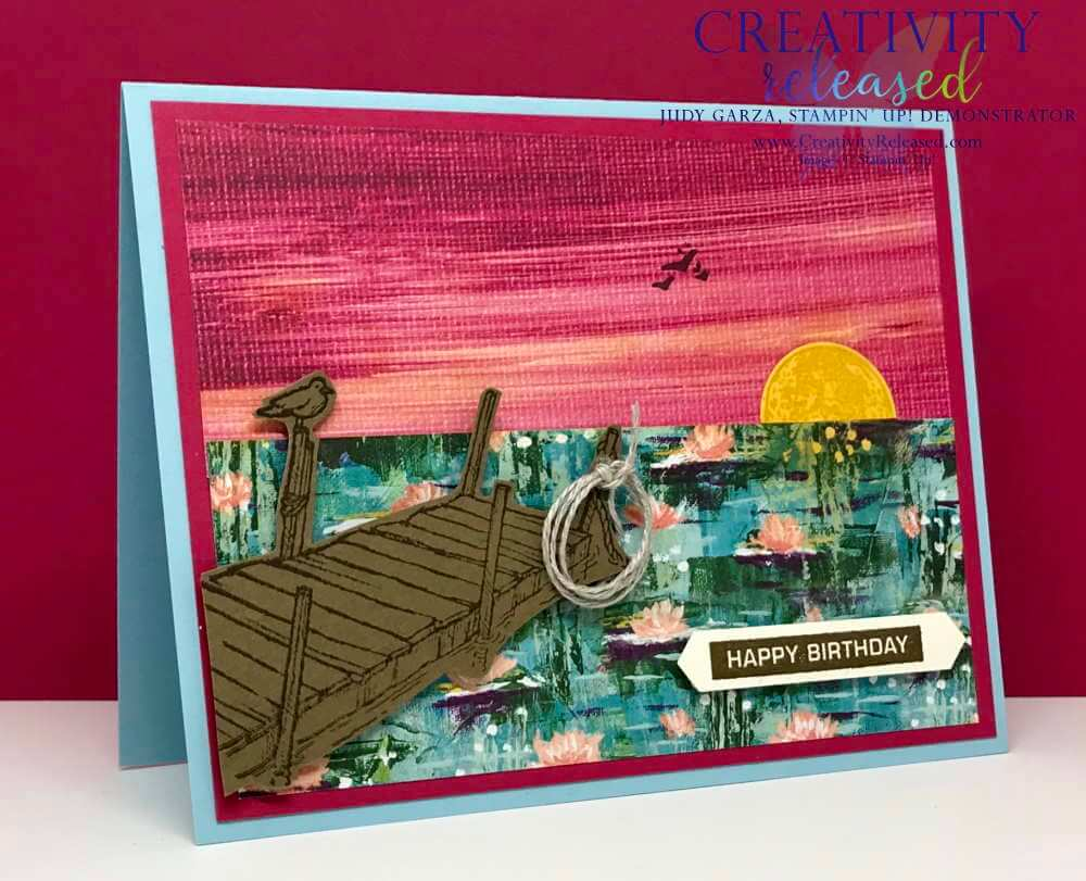 Birthday card displaying a lakeside sunset using Stampin' Up! Sale-a-bration Designer Series Paper