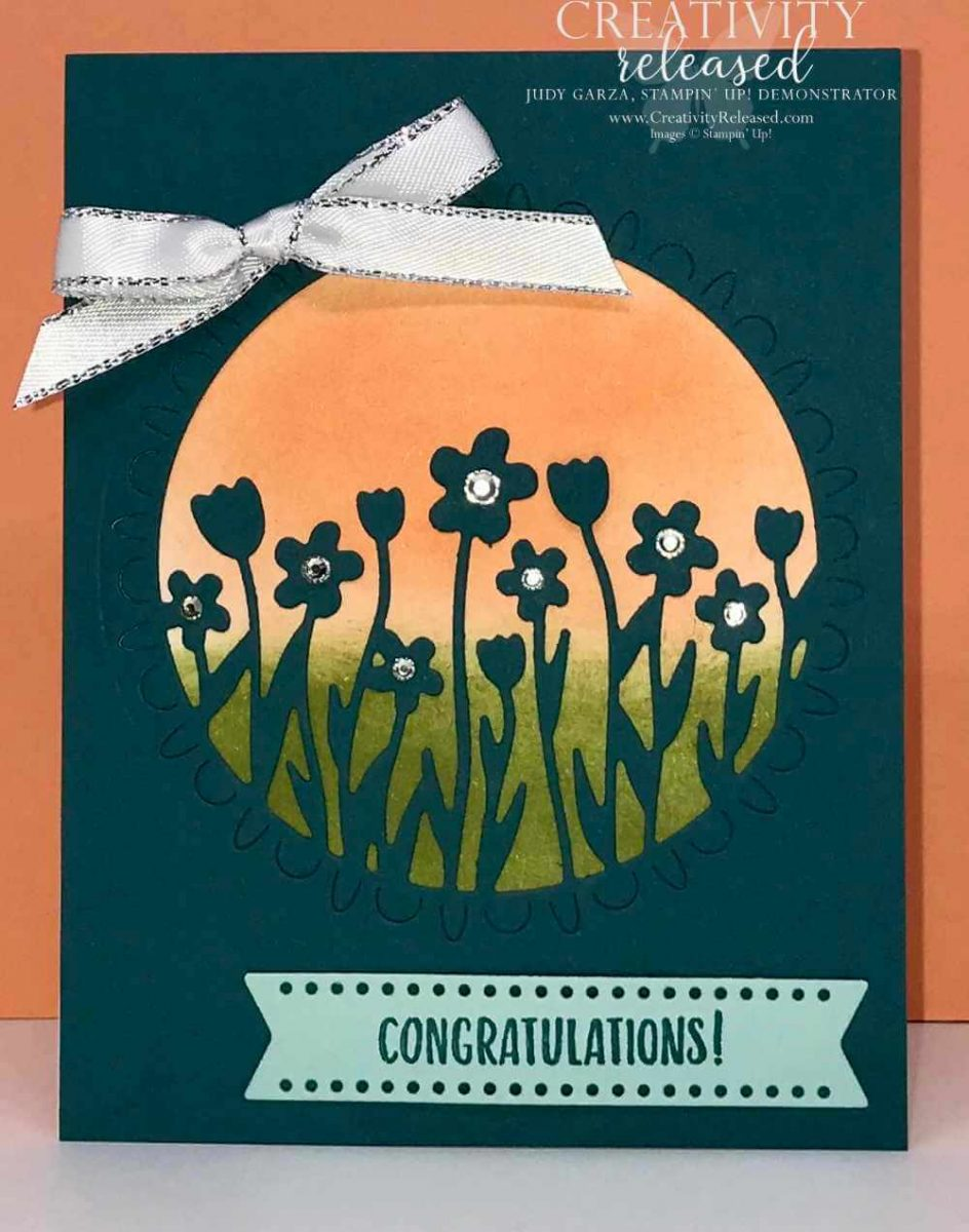 A congratulations card with flower against a sunset using the Sending Flowers Dies from the Coordination Release