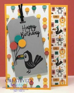 A birthday card with a tucan holding three ballons, using the Stampin' Up! Bonanza Buddies Bundle