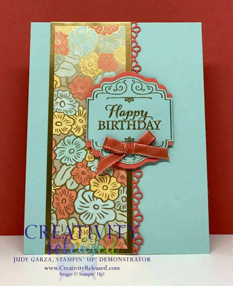 A birthday card in Mint Macaron, Coral and Daffodil using the Layered with Kindness stamp set and Label Me Lovely Punch by Stampin' Up!