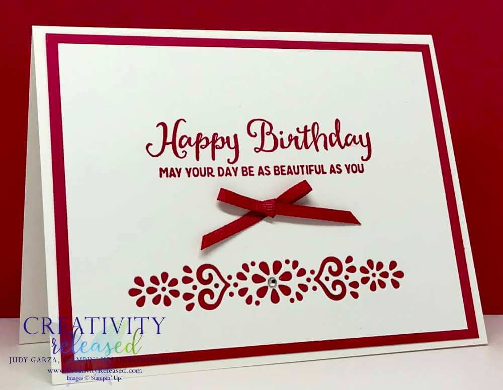 A simple birthday card using the Beautiful Day stamp set and Ornate Layers dies, both by Stampin' Up!