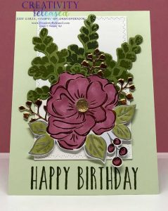 A Birthday card made with the Stampin' Up! Perennial Birthday stamps and the Positive Thoughts stamp set. Done in greens and Rococo Rose