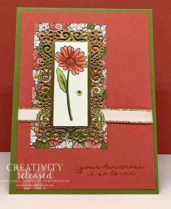 "A ""thank you for your kindness"" card showcasing the single daisy from the Ornate Garden Suite by Stampin' Up!"