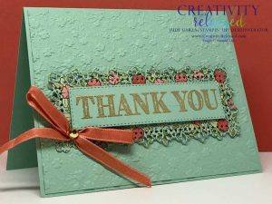 A thank you card using the Ornate Garden Suite of Stampin' Up! products