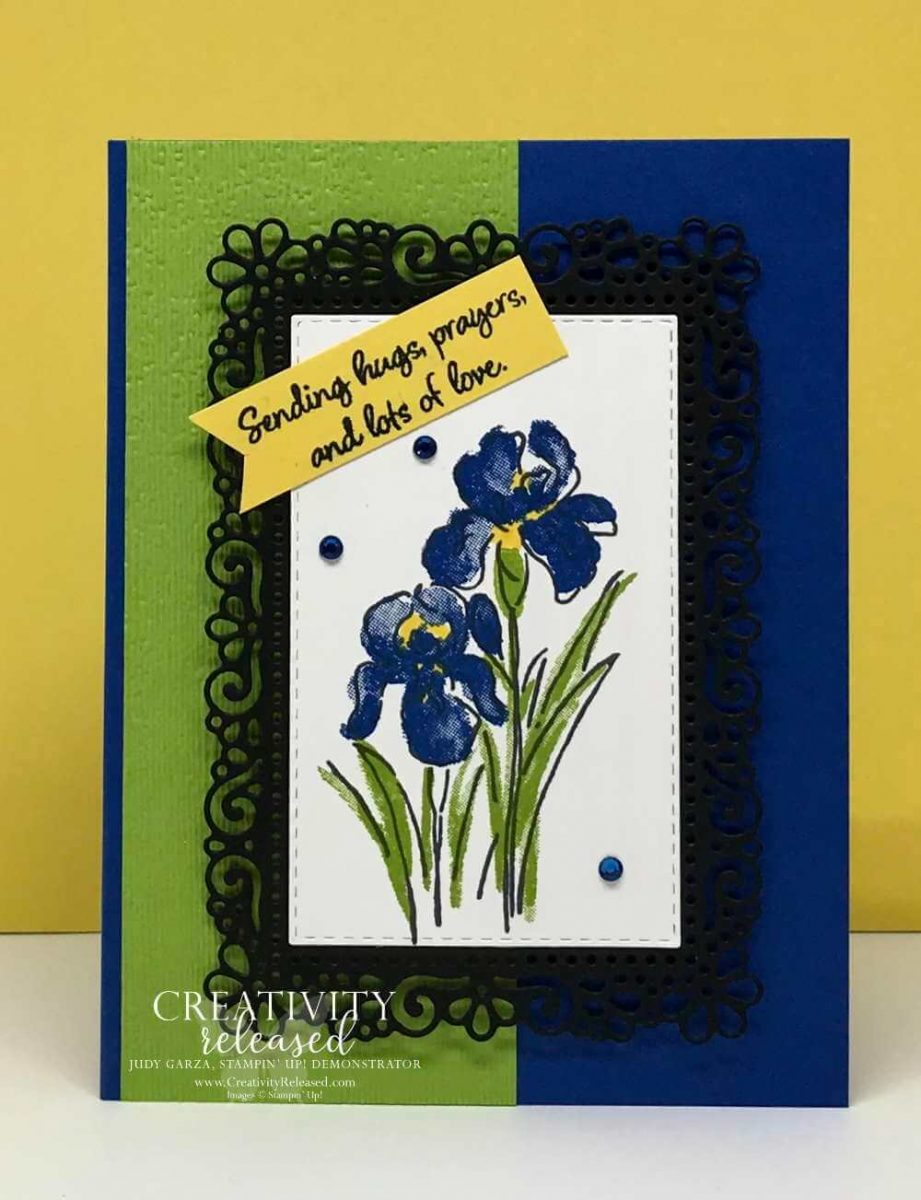 A springtime card sending hug, prayers and lots of love with Inspiring Irises stamp set by Stampin' Up!