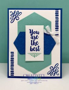 "'You Are The Best"" greeting card made in blue colors with the A Big Thank You stamp set by Stampin' Up!"
