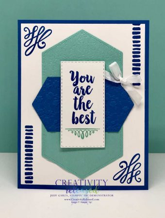 """'You Are The Best"""" greeting card made in blue colors with the A Big Thank You stamp set by Stampin' Up!"""