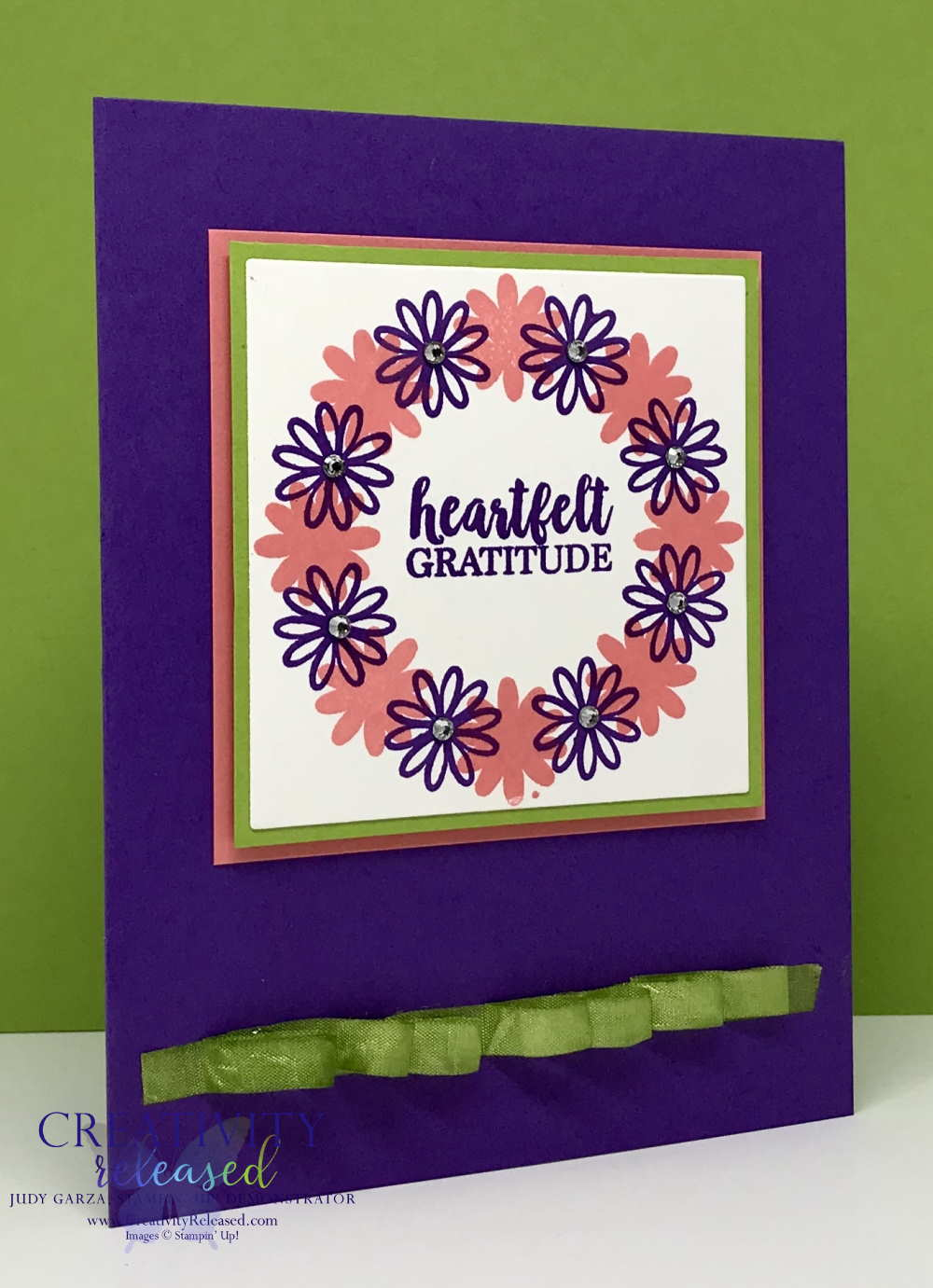 A thank you card with a floral wreath made with A Big Thank You stamp set by Stampin' Up!