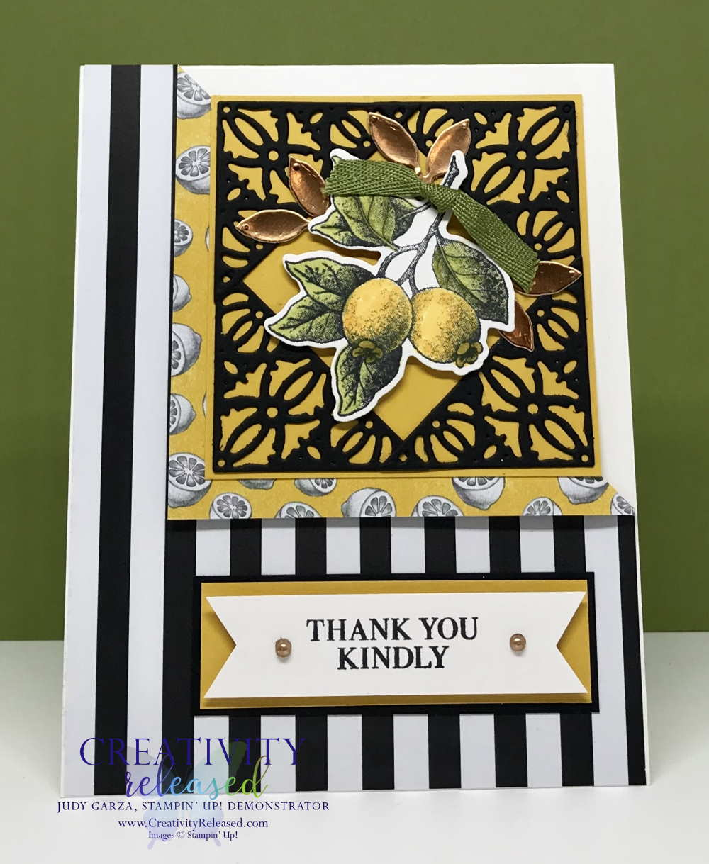 A lemony thank-you card using the Botanical Prints Medley by Stampin' Up!