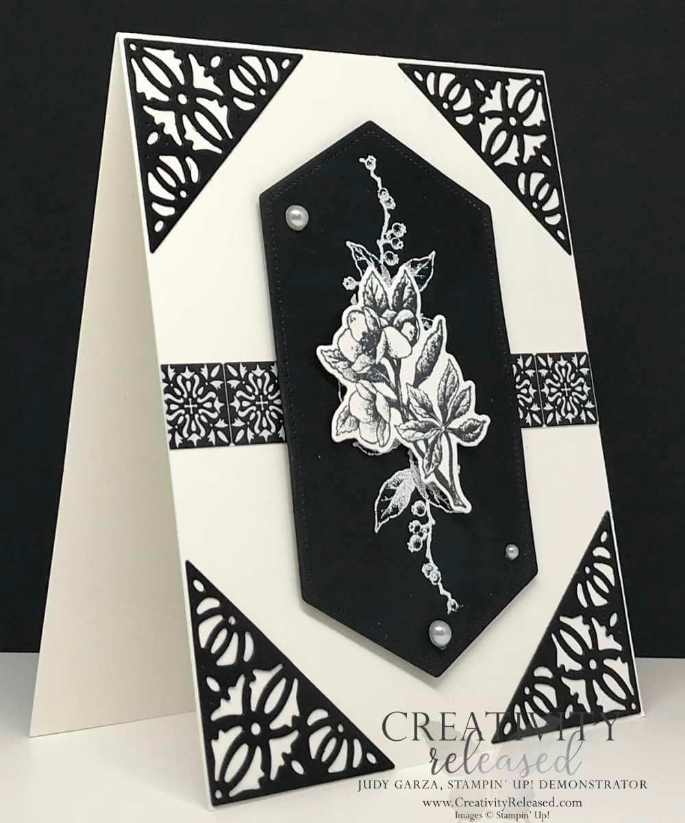 A striking black and white any-occasion card using Botanical Prints Medley by Stampin' Up!