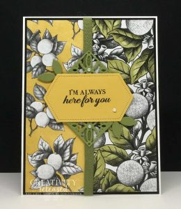 """A """"Here for You"""" greeting card in olive and yellow using the Botanical Prints Medley by Stampin' Up!"""