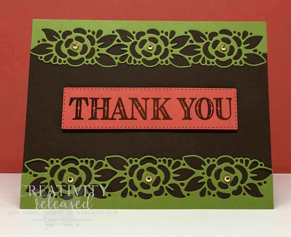 Thank you card in Early Espresso and Old Olive using Ornate Garden Suite by Stampin' Up!