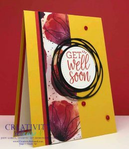 Get-Well card using bold print from Peaceful Poppies DSP by Stampin' Up!