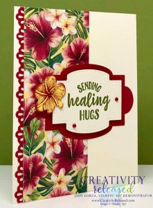 A get-well card using retiring Tropical Oasis DSP and Decorative Ribbon Border punch by Stampin' Up!