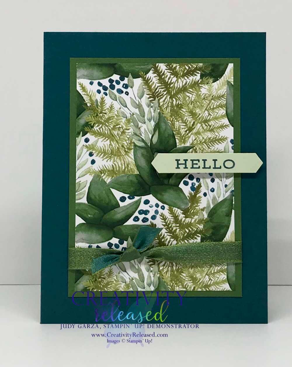 A Stampin' Up! Hello card using the Forever Greenery Suite