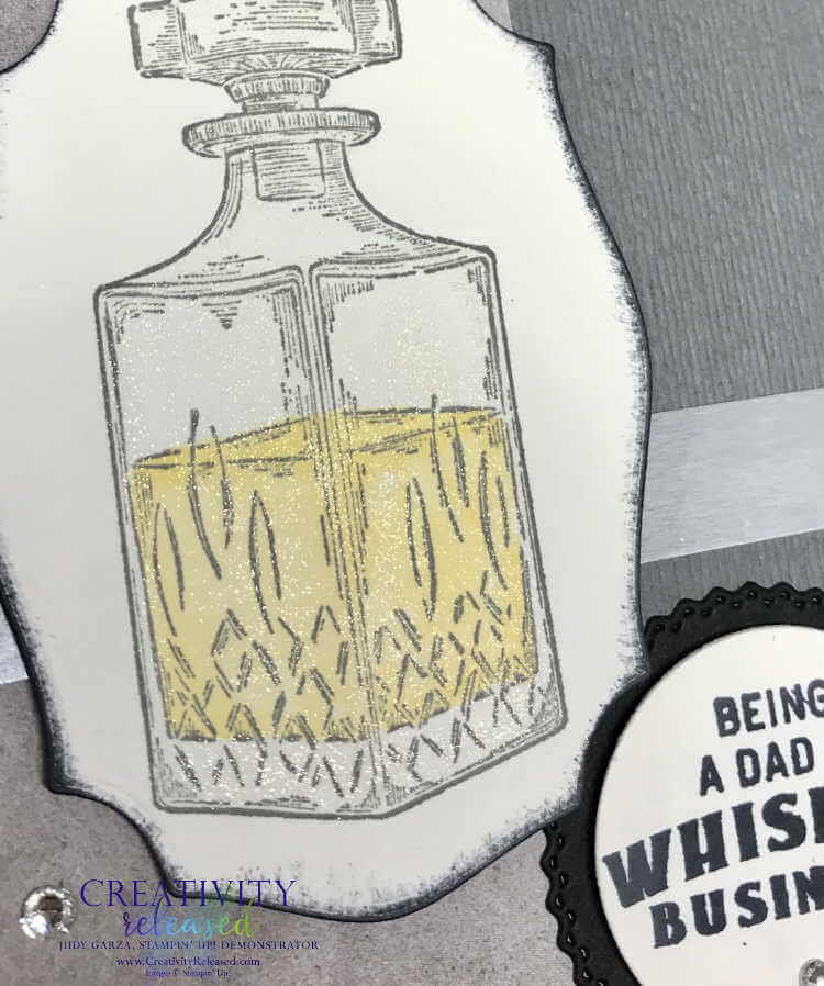 A close up view of a father's day card created using the Whiskey Business stamp set by Stampin' Up!