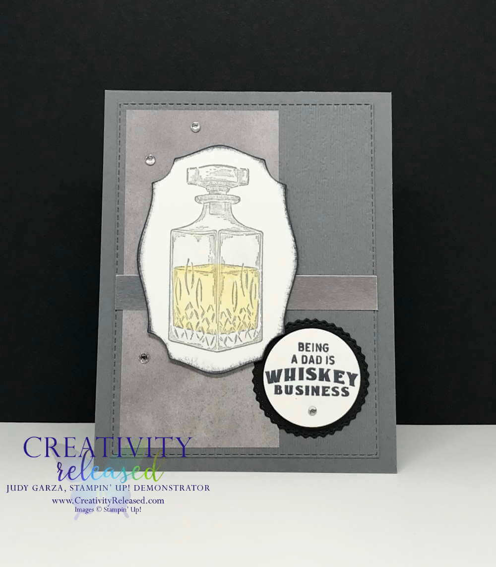 A father's day card created using the Whiskey Business stamp set by Stampin' Up!
