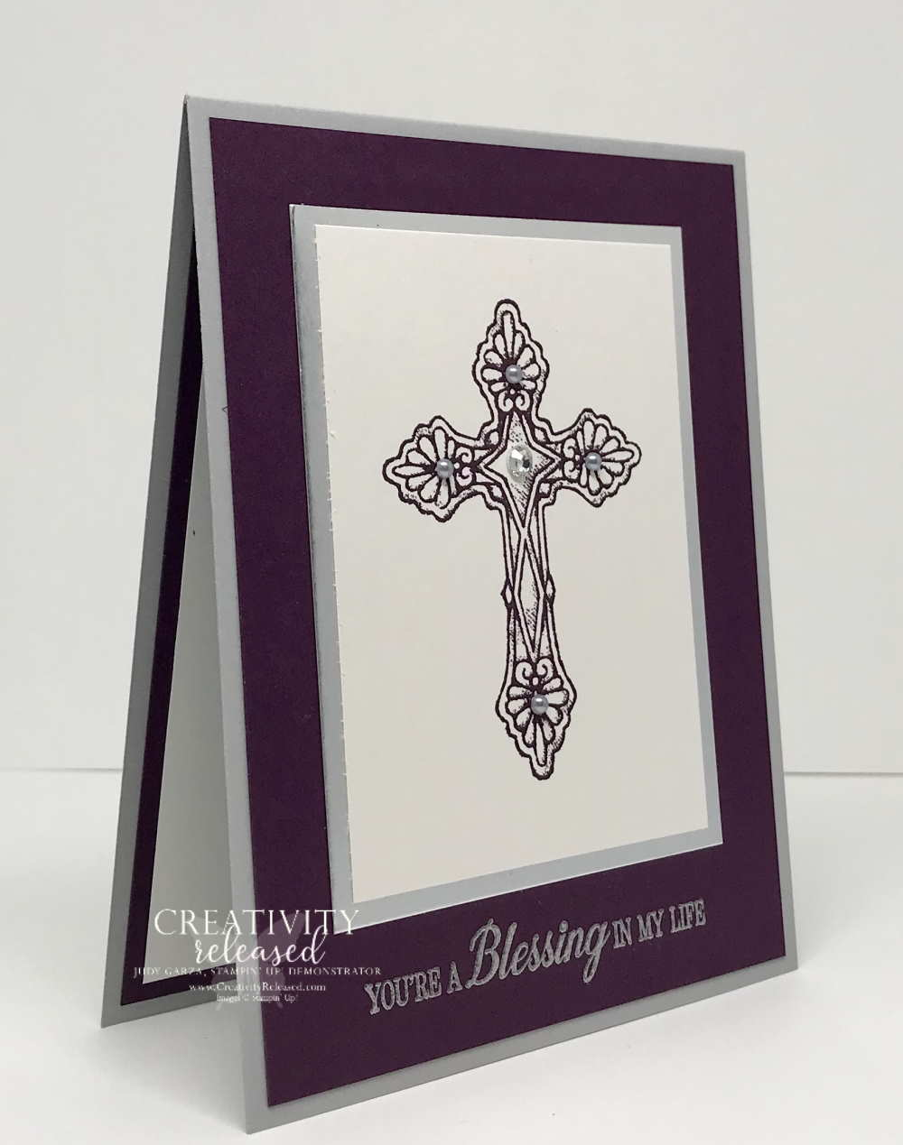 A side view of a handcrafted card using the His Love stamp set by Stampin' Up!