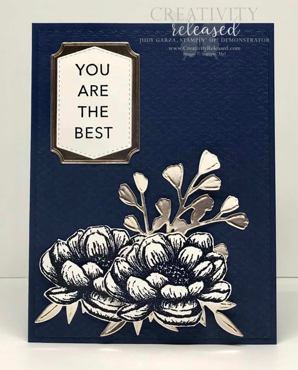 A Navy Blue monochromatic card using Stampin' Up! In Good Taste suite of products