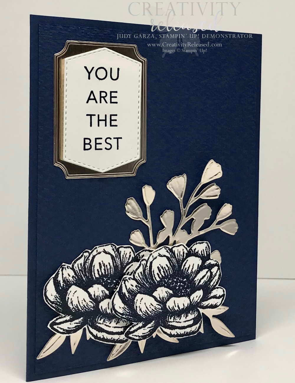 Side view of A Navy Blue monochromatic card using Stampin' Up! In Good Taste suite of products