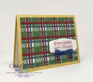 Side view of A Christmas Card made using the Best Plaid Builder Dies from Stampin' Up!