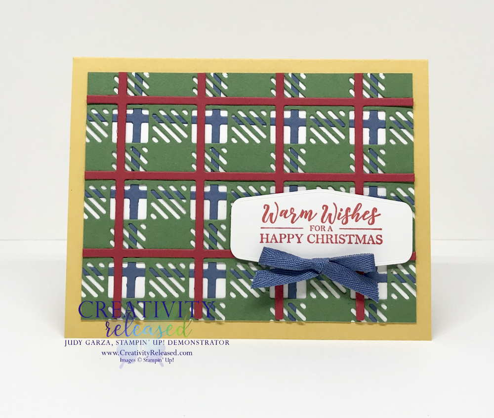 A Christmas Card made using the Best Plaid Builder Dies from Stampin' Up!
