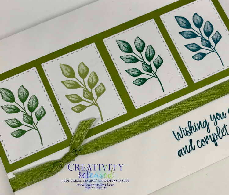 Up close view of How to make a four panel card with the Forever Greenery Suite by Stampin' Up!