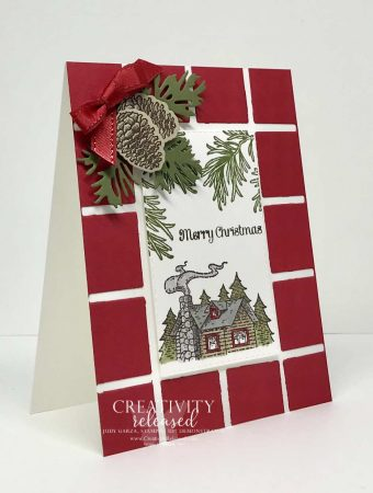 Side view of a Christmas card using scraps from the Best Plaid dies