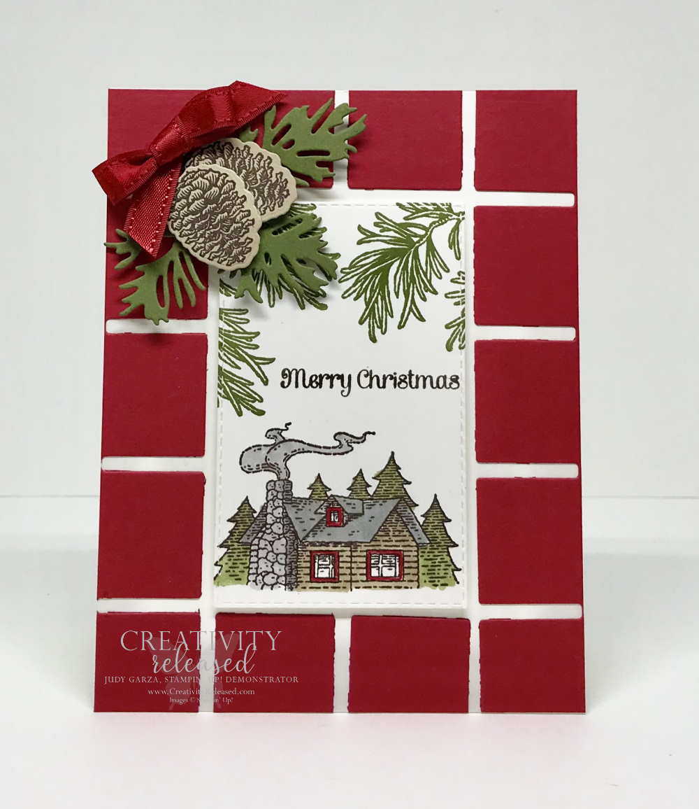 a Christmas card using remnants from the Best Plaid dies by Stampin' Up!