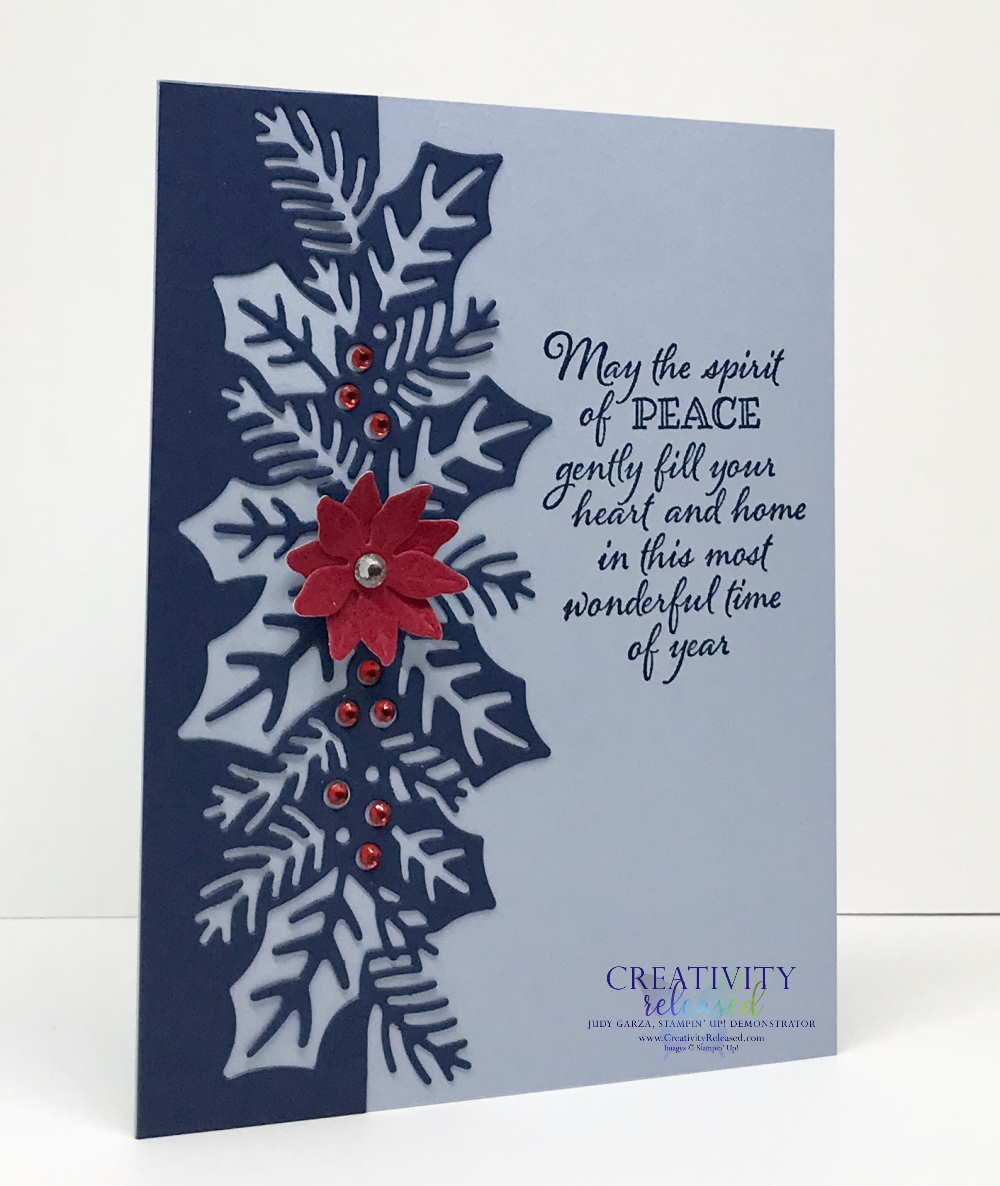 Side view of a Stampin' Up! Christmas card using the Sweetest Border Dies and the Poinsettia Dies