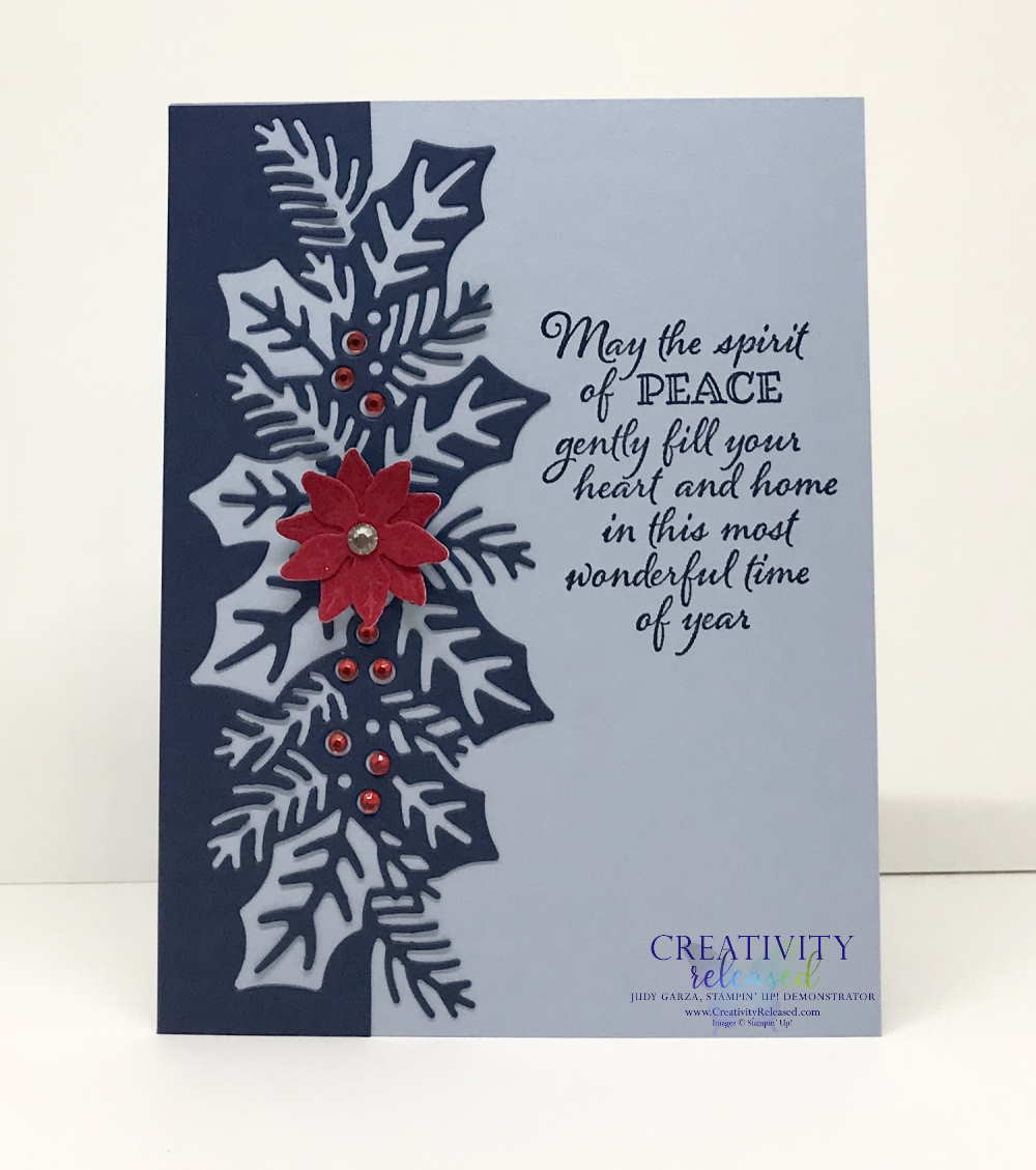 A Stampin' Up! Christmas card using the Sweetest Border Dies and the Poinsettia Dies