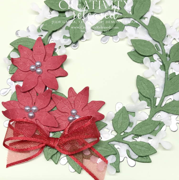 Up close view of Stampin' Up!'s Arange A Wreath Bundle meets Poinsettia dies for a lovely Christmas Card.