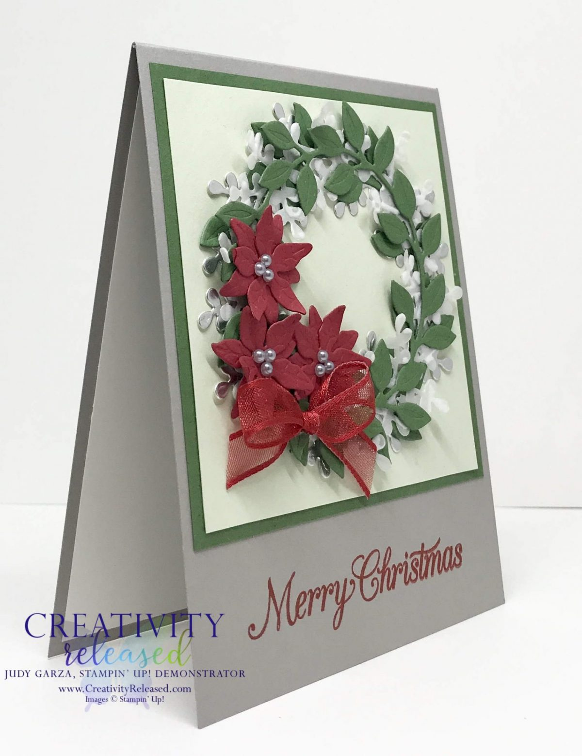 Sid view of Stampin' Up!'s Arange A Wreath Bundle meets Poinsettia dies for a lovely Christmas Card.