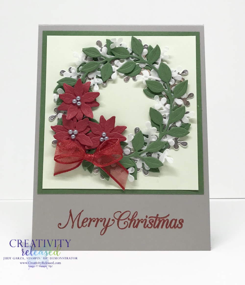 Stampin' Up!'s Arange A Wreath Bundle meets Poinsettia dies for a lovely Christmas Card.