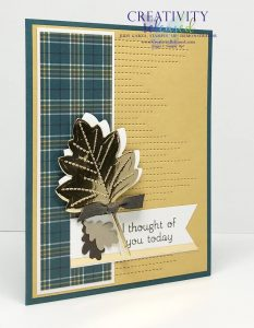"Side view of an ""I Thought of You"" card using Stampin' Up! Love of Leaves bundle."