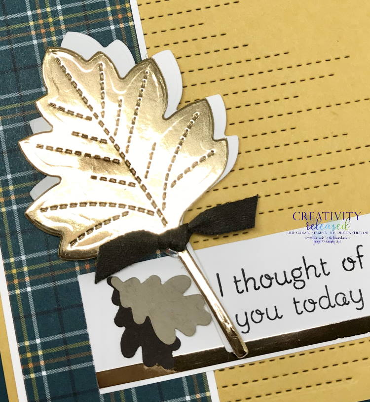 "Close up look at an ""I Thought of You"" card using Stampin' Up! Love of Leaves bundle."