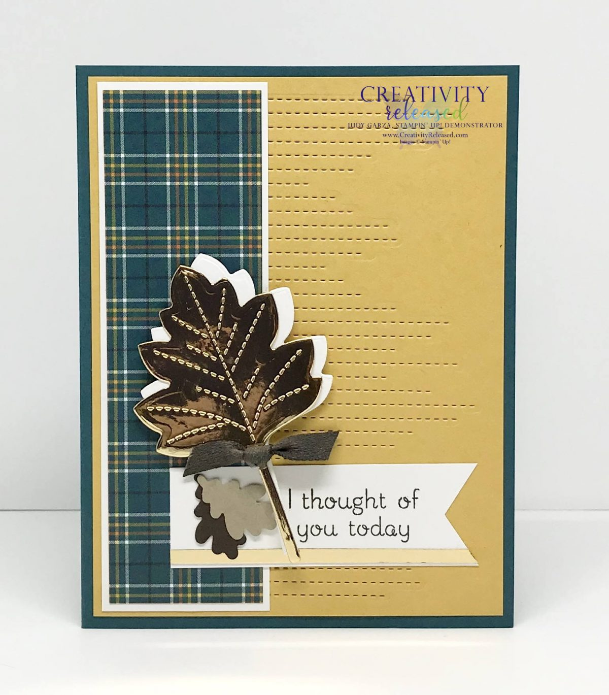 "An ""I Thought of You"" card using Stampin' Up! Love of Leaves bundle."