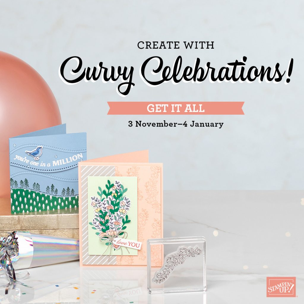 An ad showing two cards made with the Curvy Celebrations bundle available November 3, 2020