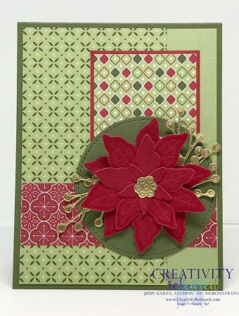 A card made based on the Mojo scketch 543 challenge using Heartwarming Hugs DSP and the Prized Poinsettia bundle.