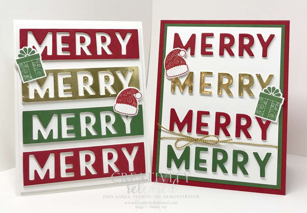 Two cards using the positive and negative die cut pieces to make 2 cards.